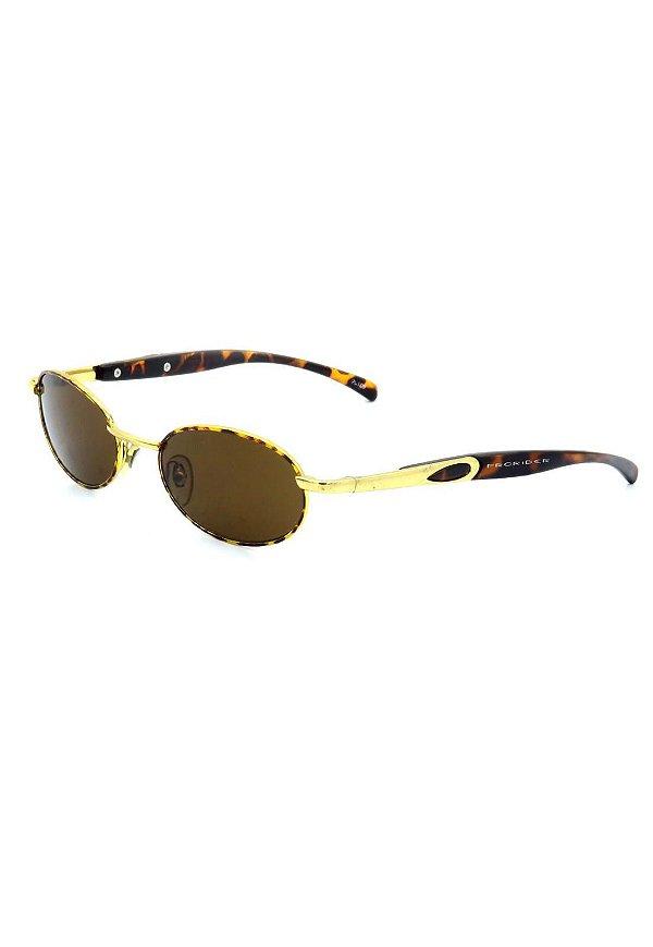 Óculos de Sol Retro Prorider Dourado com Animal Print - JAIMIE