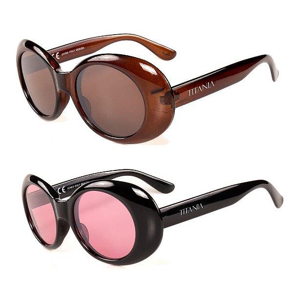 Kit de 2 Óculos de Sol Femininos Titânia Classico Marrom e Preto