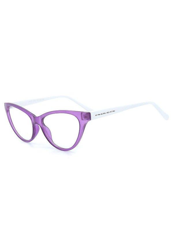 Óculos de Grau Prorider Retro Lilás Translúcido e Branco - CR22C1