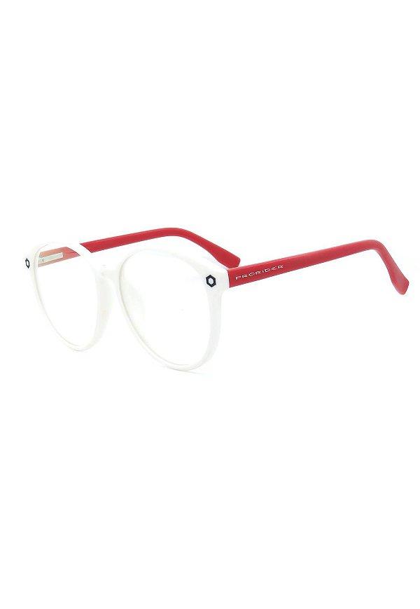 Óculos de Grau Prorider Retro Branco e Vermelho Redondo - SL7034C2