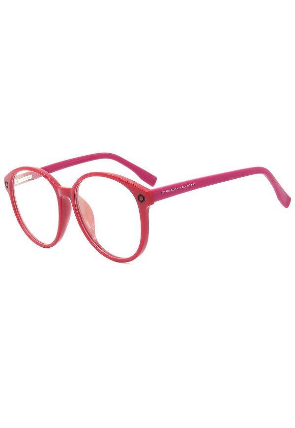 Óculos de Grau Prorider Retro Preto e Vermelho Redondo - SL7034C1
