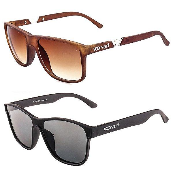 Kit de 2 Óculos de Sol Masculinos Voor Vert Marrom e Preto