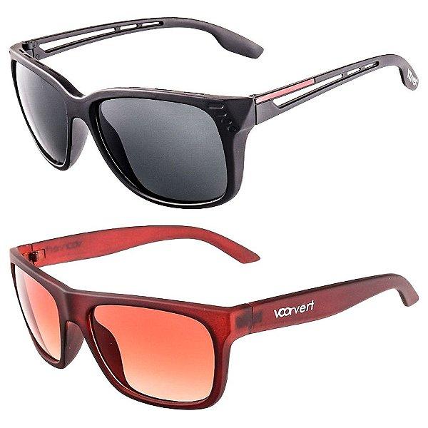 Kit de 2 Óculos de Sol Masculinos Voor Vert Preto e Marrom