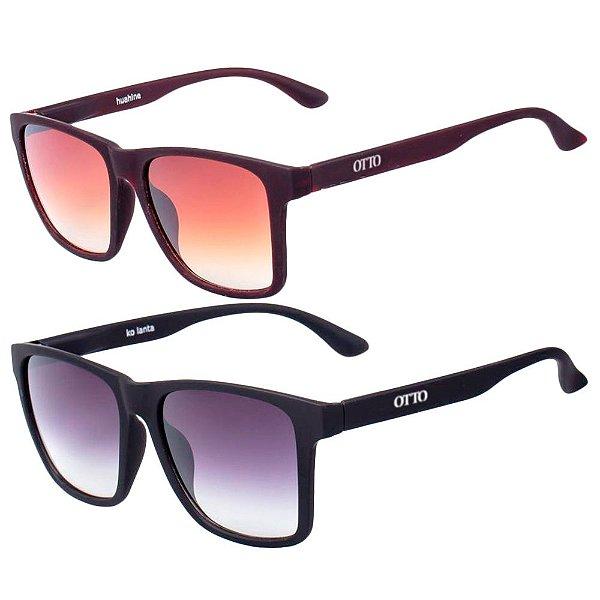 Kit de 2 Óculos de Sol Masculinos OTTO Marrom e Preto