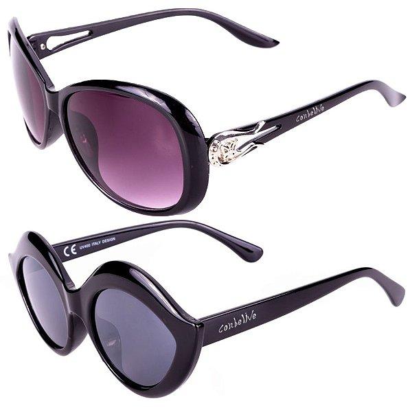 Kit de 2 Óculos de Sol Femininos Conbelive Casuais Preto