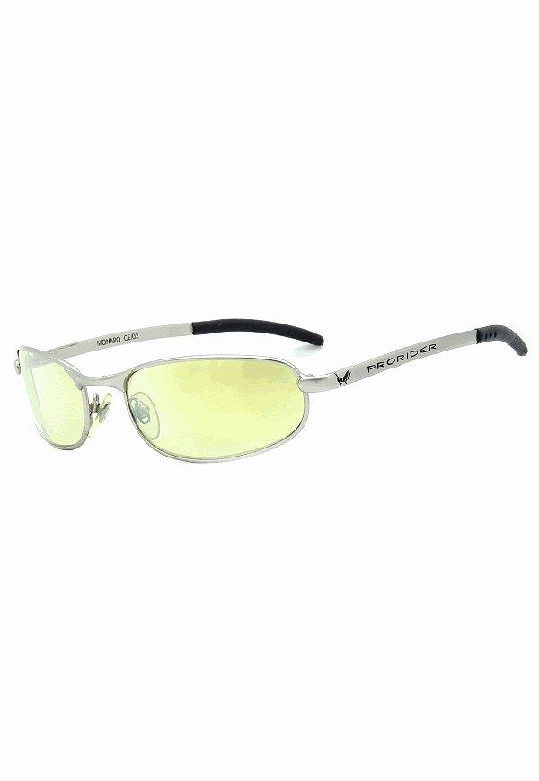 Óculos de Sol Retro Prorider Prata Fosco com Lente Amarela - MONARO