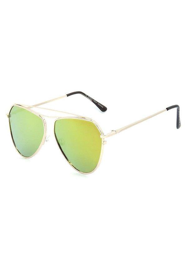Óculos De Sol Prorider Redondo Dourado com Lente Espelhada - H01501C4-1