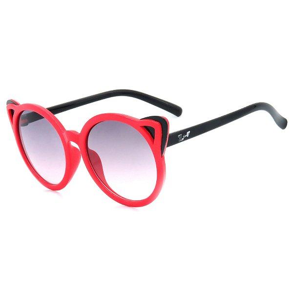 Óculos de Sol Infantil Z-JIM em Grilamid® TR-90 Redondo Vermelho com Orelhas