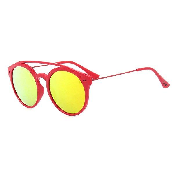 Óculos de Sol Infantil Z-JIM Casual Vermelho Lente Espelhada
