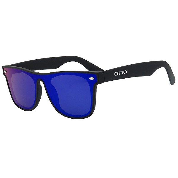 Óculos de Sol OTTO em Grilamid® TR-90 Quadrado Preto Fosco com Lente Espelhada