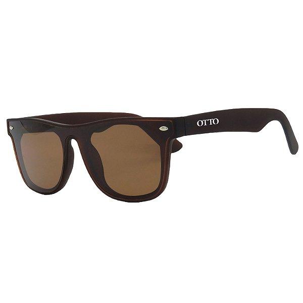 Óculos de Sol OTTO em Grilamid® TR-90 Quadrado Marrom Fosco