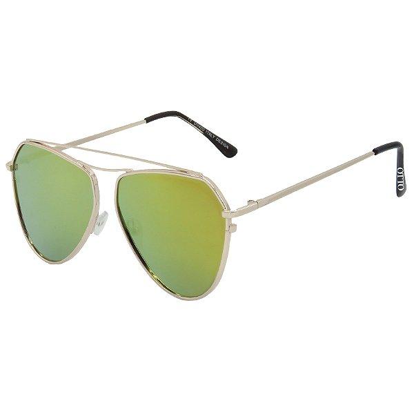 Óculos de Sol OTTO em Metal Monel® Aviador Dourado e Espelhado Dourado