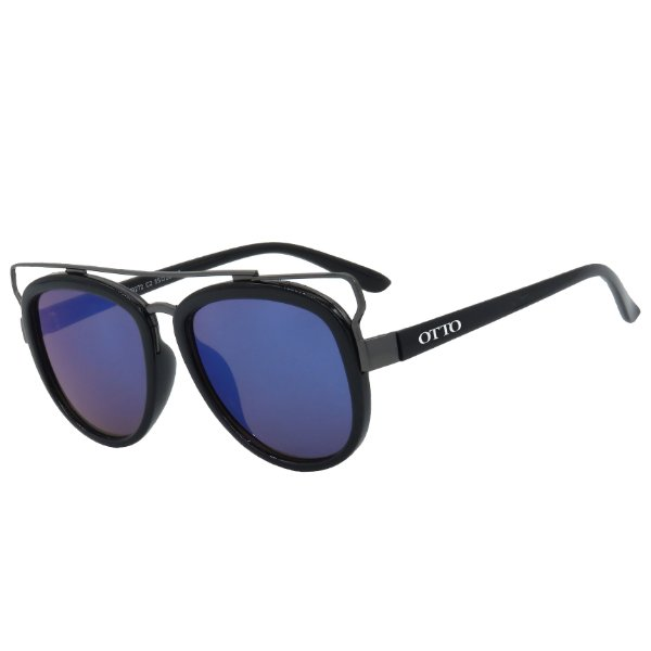 Óculos de Sol OTTO Preto Brilho e Espelhado Azul