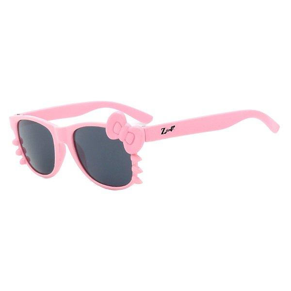 Óculos de Sol Infantil Z-JIM Quadrado Gatinho Rosa Claro e Laço Rosa