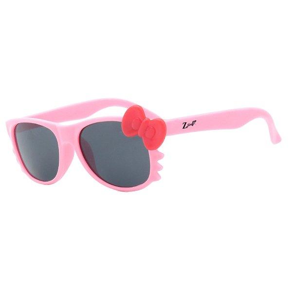 Óculos de Sol Infantil Z-JIM Quadrado Gatinho Rosa Claro e Laço Vermelho