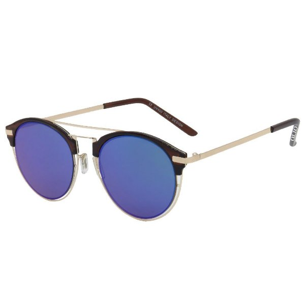 Óculos de Sol OTTO em Metal Monel® Redondo Dourado e Espelhado Azul