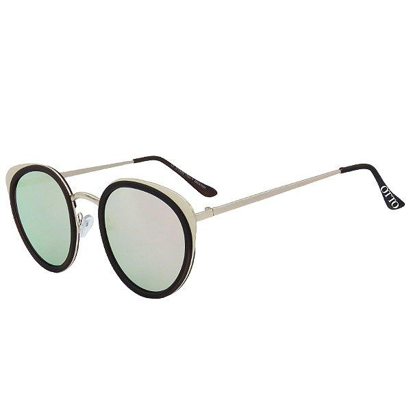 Óculos de Sol OTTO em Metal Monel® Redondo Dourado e Espelhado Rosa