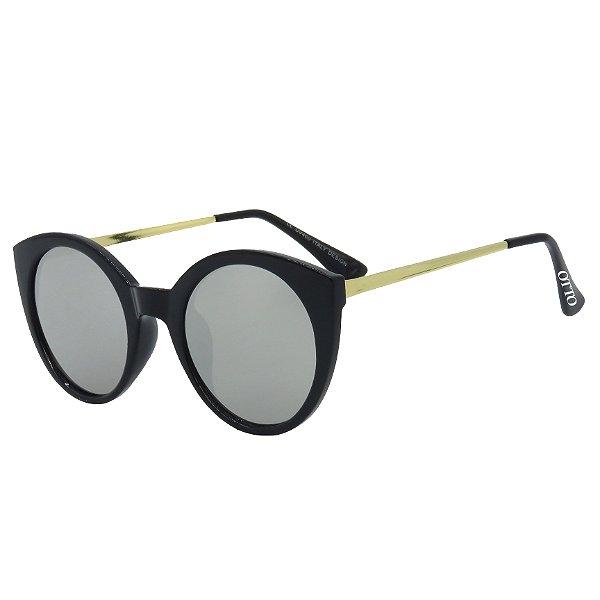 Óculos de Sol OTTO em Metal Monel® Redondo Preto e Dourado e Espelhado Prata