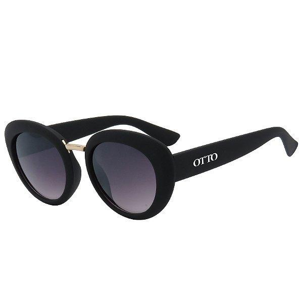 Óculos de Sol OTTO em Grilamid TR-90® Redondo Preto Fosco e Dourado