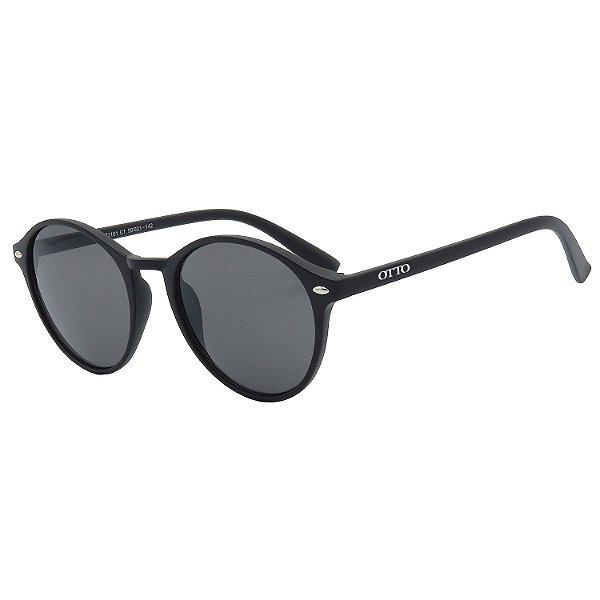Óculos de Sol OTTO em Grilamid® TR-90 Redondo Preto Fosco CJ72101-1