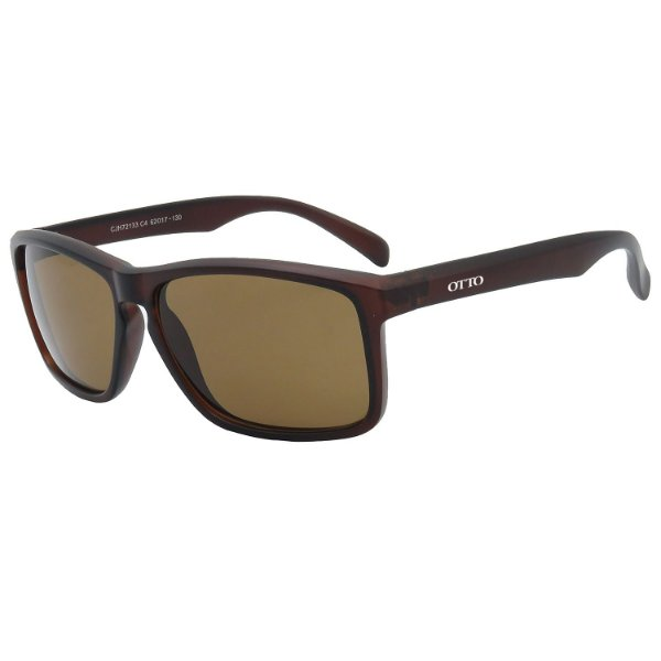 Óculos de Sol OTTO em Grilamid® TR-90 Quadrado Marrom Fosco CJH72133-4