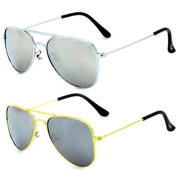 Kit de 2 Óculos de Sol Infantil Zjim Aviador Prata e Dourado