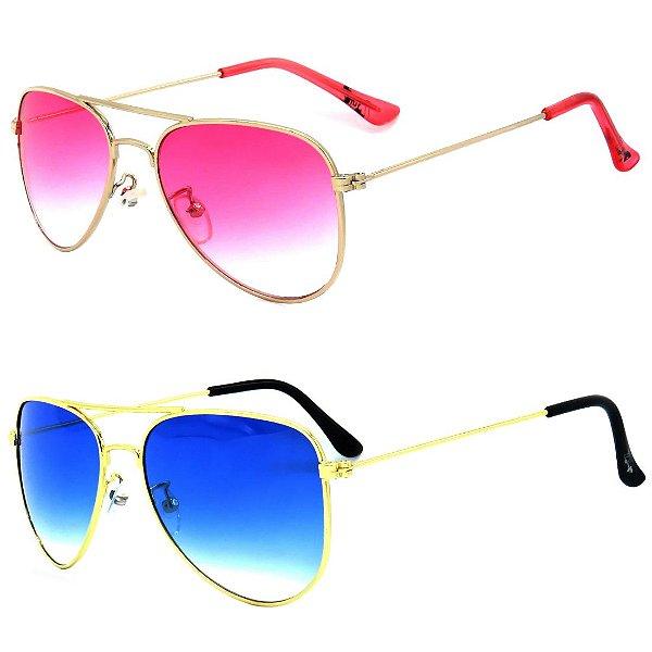 Kit de 2 Óculos de Sol Infantil Zjim Aviador Rosa e Azul