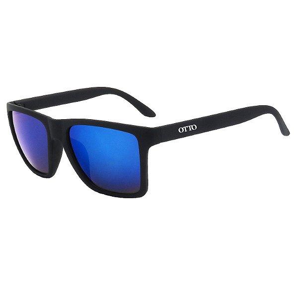Óculos de Sol OTTO em Grilamid® TR-90 Quadrado Preto Fosco Espelhado Azul