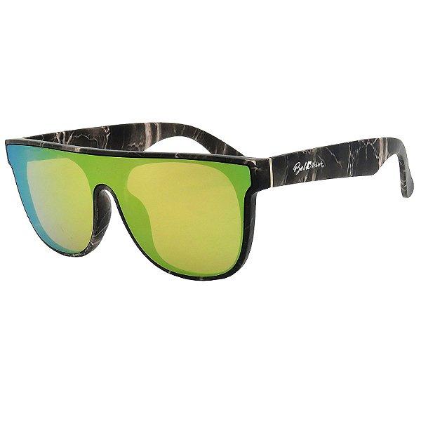 Óculos de Sol BellClover em Grilamid® TR-90 Quadrado Estampado Fosco e Espelhado