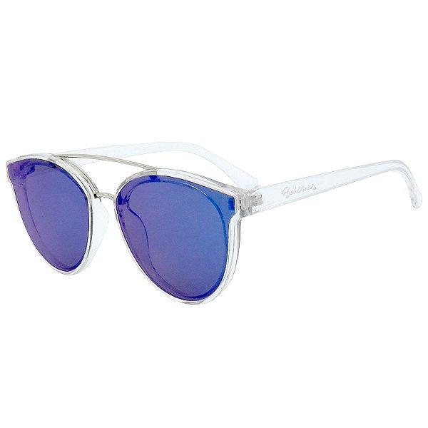 Óculos de Sol BellClover em Grilamid® TR-90 Redondo Translúcido e Espelhado