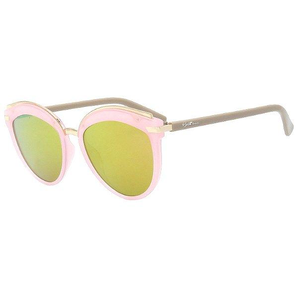 Óculos de Sol BellClover® em Grilamid® TR-90 Gatinho Rosa e Espelhado