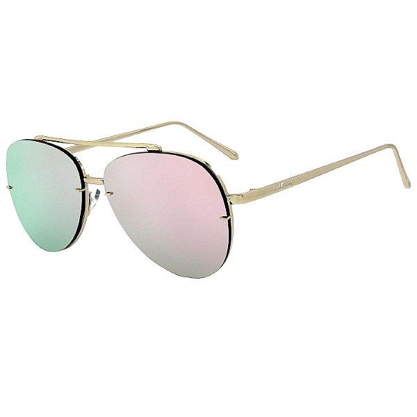 Óculos de Sol Bell Clover® em Metal Monel® Aviador Dourado Espelhado
