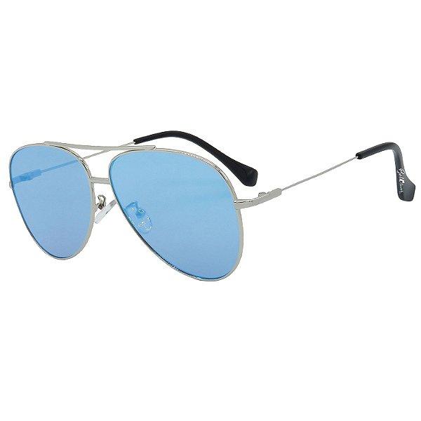 Óculos de Sol BellClover® em Metal Monel® Aviador Prata Espelhado