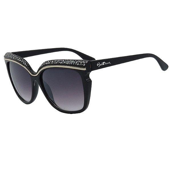 Óculos de Sol BellClover em Grilamid® TR-90 Gatinho Clássico Preto Lente Degradê