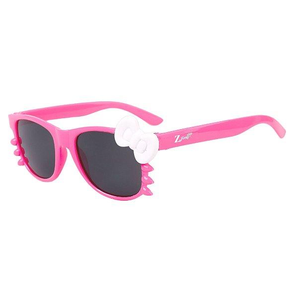 Óculos de Sol Infantil Z-JIM Quadrado Gatinho Pink e Laço Branco