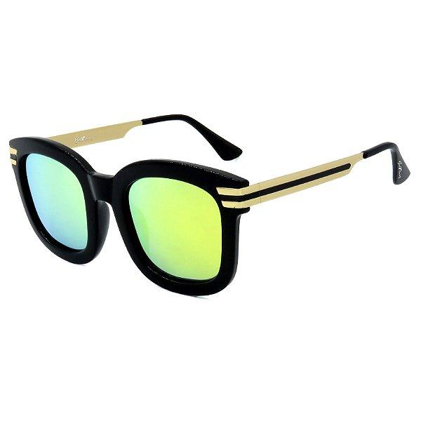 Óculos de Sol BellClover em Grilamid® TR-90 Preto com Dourado Lente Espelhada