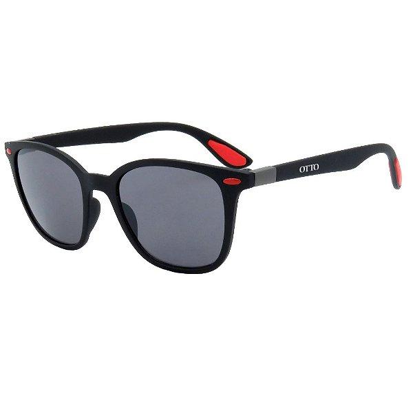 Óculos de Sol OTTO em Grilamid® TR-90 Quadrado Preto Fosco com Vermelho