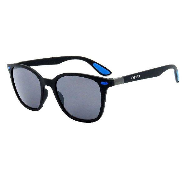 Óculos de Sol OTTO em Grilamid® TR-90 Quadrado Preto Fosco com Azul