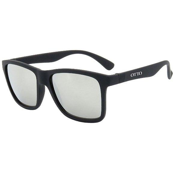 Óculos de Sol Espelhado OTTO em Grilamid® TR-90 Quadrado Preto Fosco