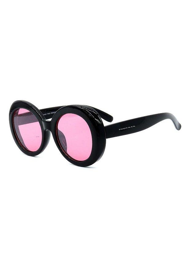 Óculos de Sol Prorider Preto Redondo com Lente Rosa - YD1783C1