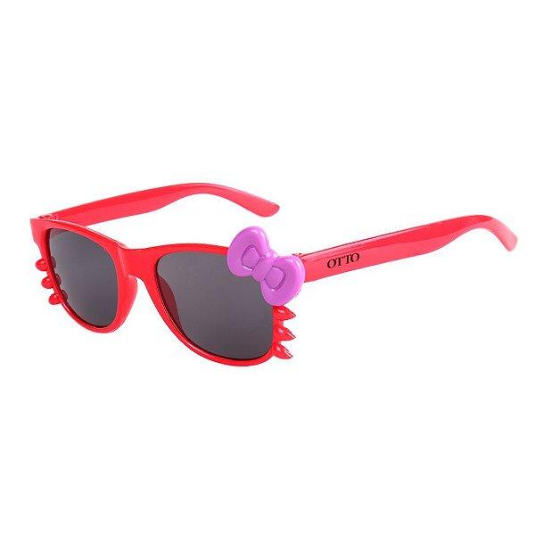 Óculos de Sol Infantil Eva Solo Quadrado Gatinho Vermelho e Laço Roxo