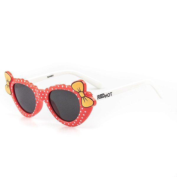 Óculos de Sol Infantil Red Hot Vermelho Com Laço Menina