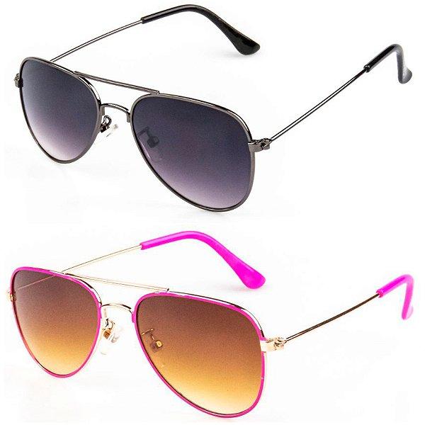 Kit de 2 Óculos de Sol Infantil RedHot Aviador Grafite e Rosa