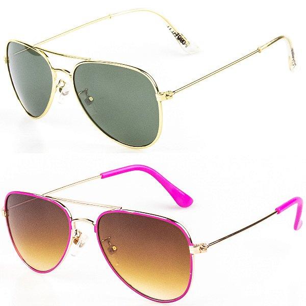 Kit de 2 Óculos de Sol Infantil RedHot Aviador Prata e Rosa