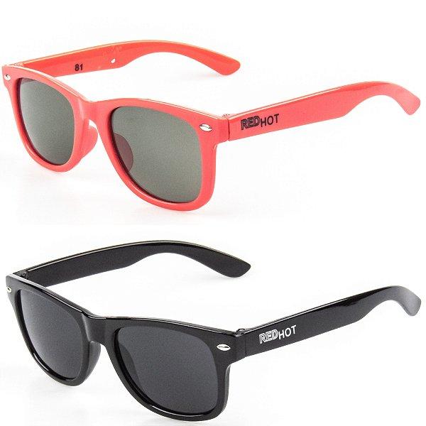 Kit de 2 Óculos de Sol Infantil RedHot Quadrado Laranja e Preto