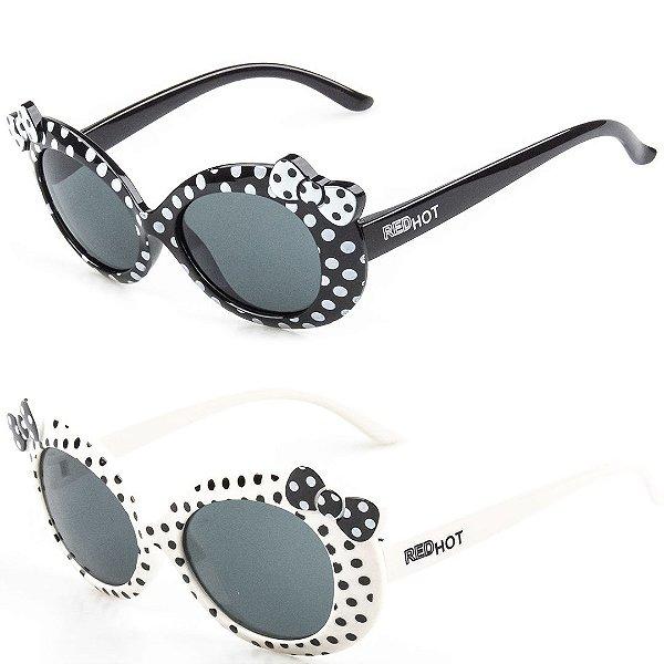 Kit de 2 Óculos de Sol Infantil RedHot Bolinhas Preto e Branco