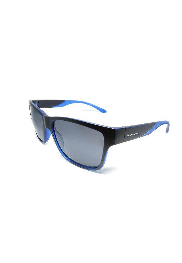 Óculos de Sol Prorider Retro Preto com detalhes em Azul com lente Polarizada Fumê - HS0369 C5