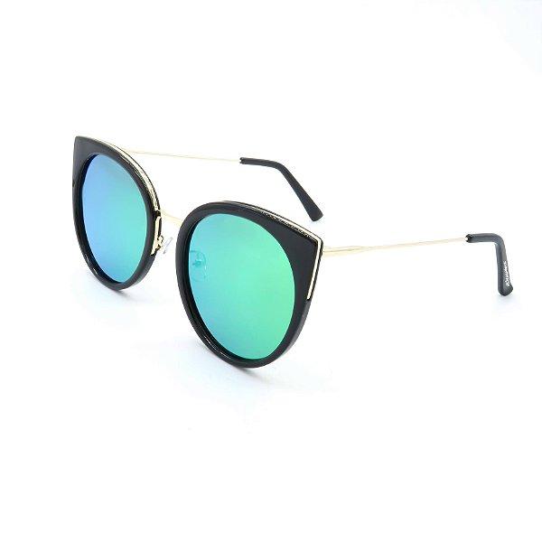 Óculos de Sol Polarizado Dark Face Gatinho com Lente Espelhada - 1810