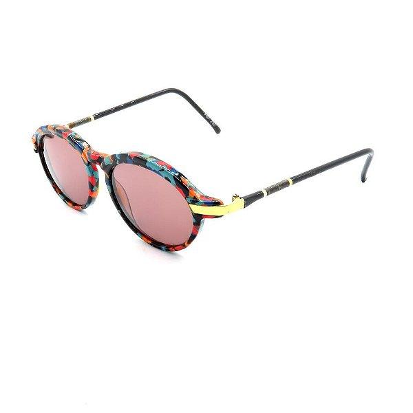 Óculos de Sol Retro Prorider Preto com Detalhes Multicoloridos - F07Z65
