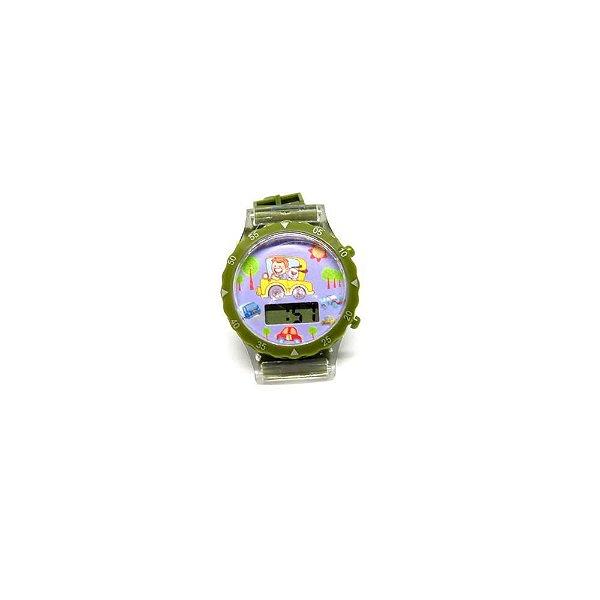 Relógio Infantil Prorider Verde com Estampa de Carrinho - RLIVR2020
